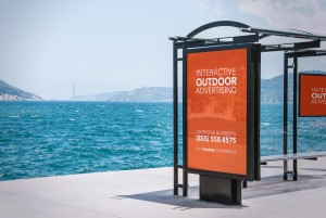 interactive outdoor advertising bus stop banner